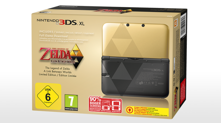 Les consoles Nintendo 3DS XL The Legend of Zelda: A Link Between Worlds en édition limitée et l'édition spéciale Luigi débarquent en Europe dans Nintendo 3DS XL cmm_3ds_thelegendofzeldaalinkbetweenworlds_bundle_eua_mediaplayer_large